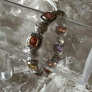 Jewelry - Women's Faux Gemstone Silver Bracelet